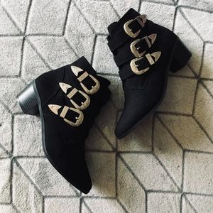 Forever 21 Black Ankle Boots with Buckles